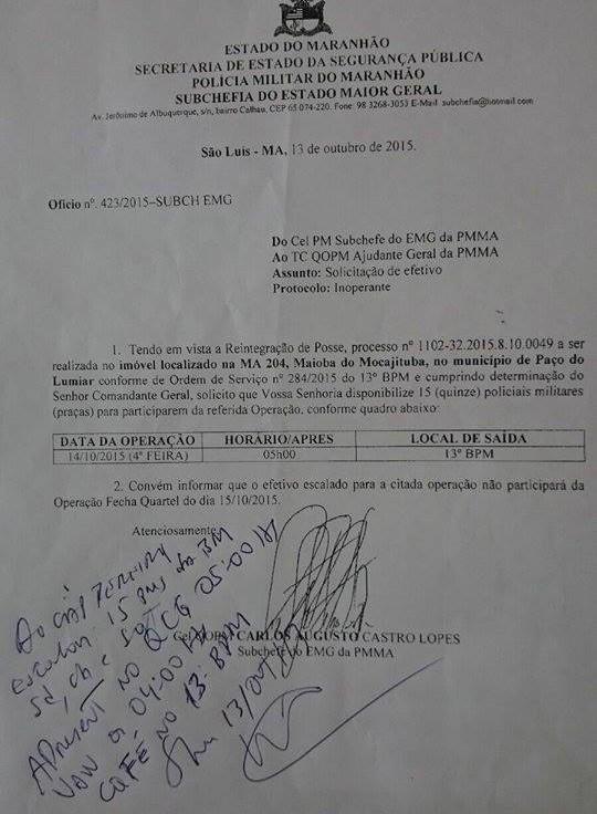 Documento mostra o Coronel Carlos Augusto requisitando 15 integrantes da Banda de Música para uma ação que deve ser desenvolvida pela Batalhão de Choque