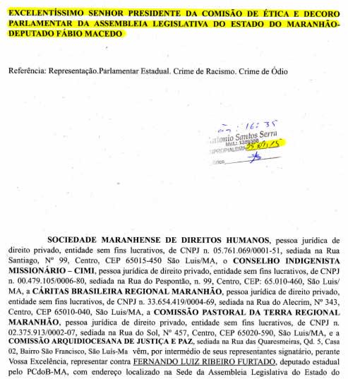 Documento mostra que o próprio presidente da Comissão de Ética da AL faltou com a ética ao mentir para proteger o colega
