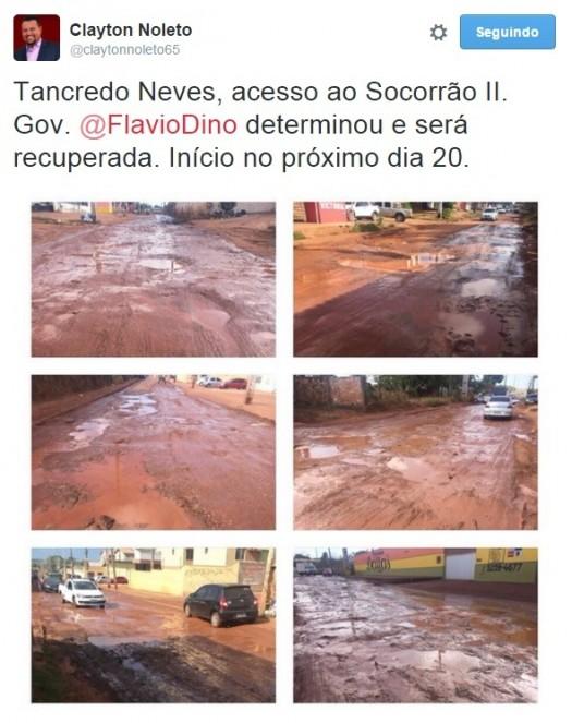 Fotos postadas pelo próprio secretário de Infraestrutura do Maranhão mostram a situação de completo abandono em que se encontra a Avenida Tancredo Neves