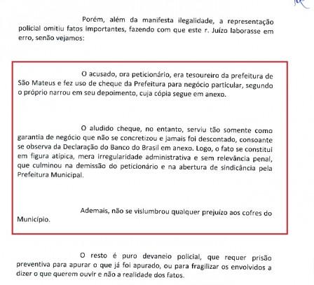 Para advogados, não há nada de errado em Washington Oliveira Costa ter usado cheques da Prefeitura de São Mateus para negócios pessoais com um agiota