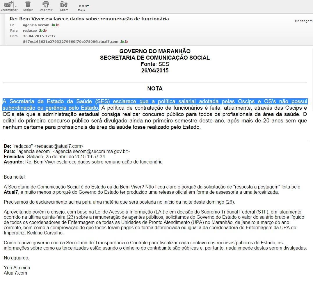 Em nota, Secom do governo Flávio Dino admite que Bem Viver não presta informações sobre pagamento de salários de contrários