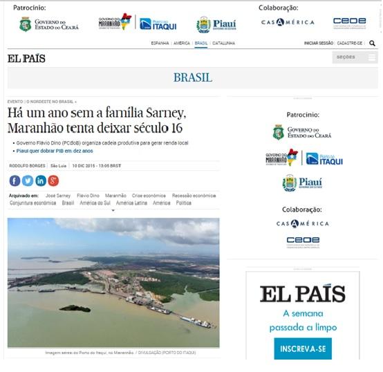 Matéria no El País contra José Sarney e a favor de Flávio Dino foi publicada mesmo dia do contrato de R$ 200 mil entre o Governo do Maranhão e o jornal espanhol