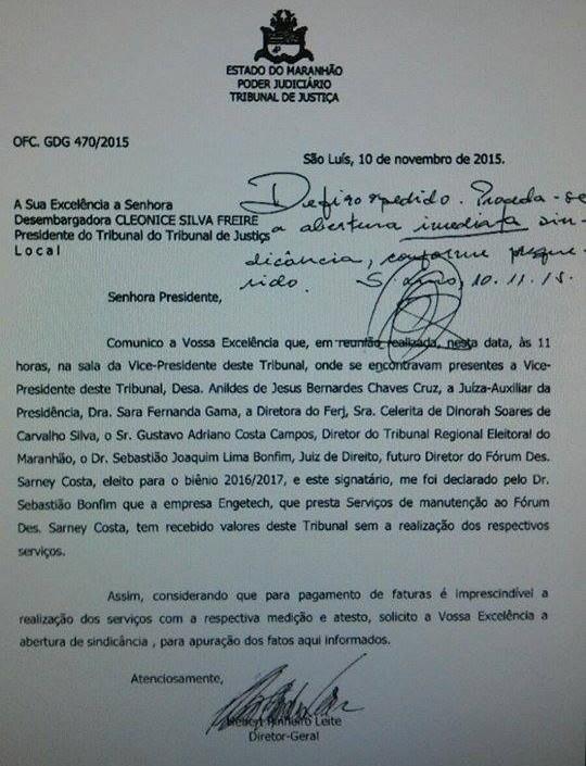 Ofício encaminhado por diretor-geral do TJ-MA à Cleonice Freire revela pagamento à empresa Engetech por serviços não prestados ao Fórum de São Luís