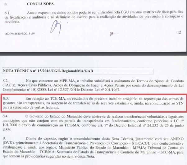 Item 8, da Nota Técnica sobre o levantamento feito pelo CGU, MP-MA e TCE deixa claro que quem não cumpriu a LRF e a LAI deve ter as contas reprovadas pelo Tribunal de Contas do Maranhão