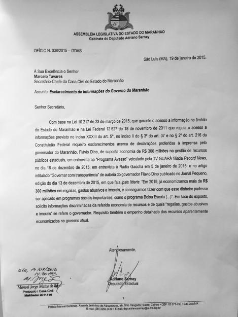Documento enviado por Adriano Sarney à Casa Civil, em que pede transparência sobre o que Flávio Dino vem afirmando como verdadeiro apenas de boca