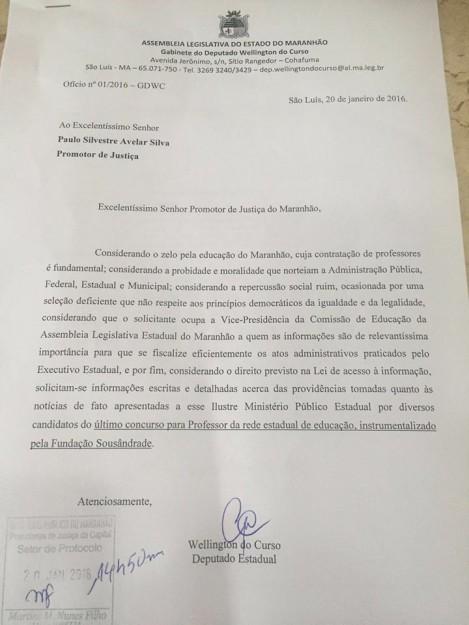 Ofício protocolado pelo deputado Wellington do Curso junto ao Ministério Público do Maranhão
