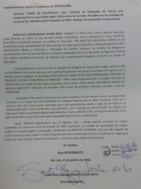 Sebastião Uchôa quer que Adepol-MA tome providências urgentes em relação aos critérios adotados pelo governo para transferir policiais civis, principalmente delegados