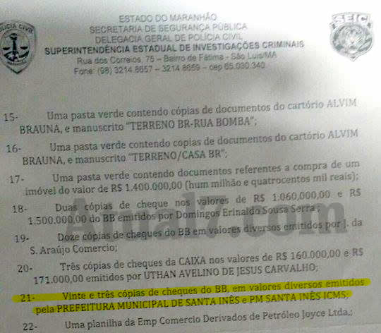 Relatório da Seic sobre documentos encontrados no cofre do agiota Pacovan mostra que 23 cheques da Prefeitura de Santa Inês estavam entre eles