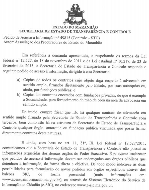 Trecho do documento em que Rodrigo Lago nega acesso aos contratos do governo Flávio Dino com base em distorções da Lei de Acesso à Informação