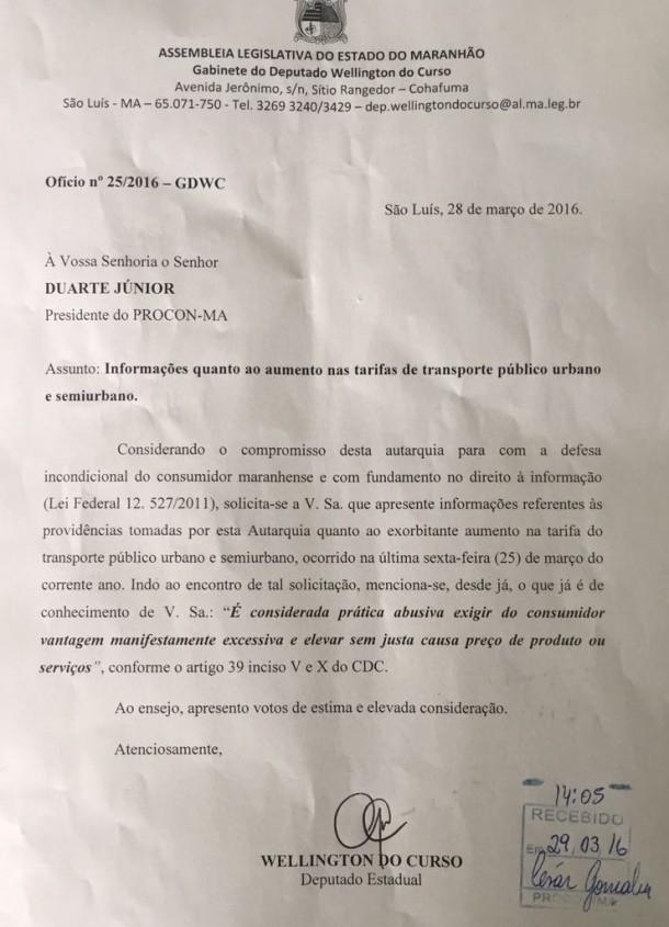 Ofício encaminhado pelo deputado Wellington do Curso para o diretor do Procon no Maranhão