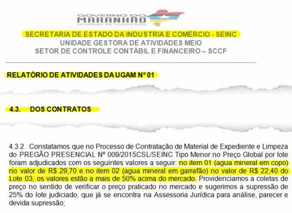 Trechos do relatório da UGAM onde é mostrado que Simplício Araújo assinou um contrato superfaturado em mais de 50% acima do valor do mercado
