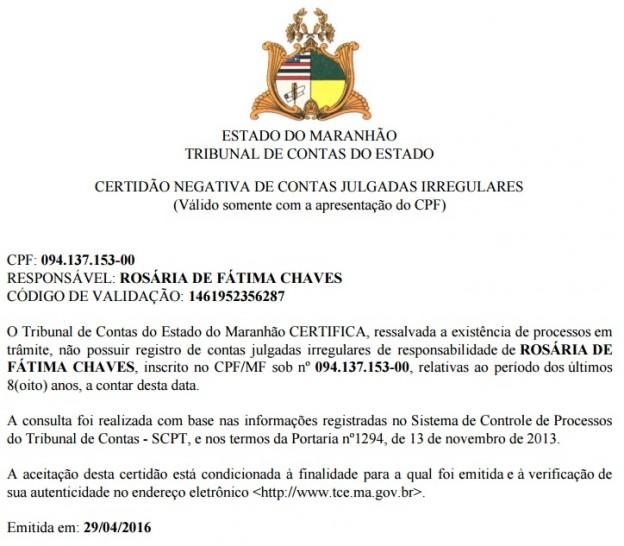 Decisão do próprio TCE-MA mostra que julgamento de contas de Professora Rosinha ainda está em trâmite. Ainda que em trânsito em julgado, decisão sobre inelegibilidade cabe à Justiça Eleitoral