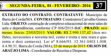 Extrato do contrato publicado pela Prefeitura de Barra do Corda quase seis meses depois de vencido