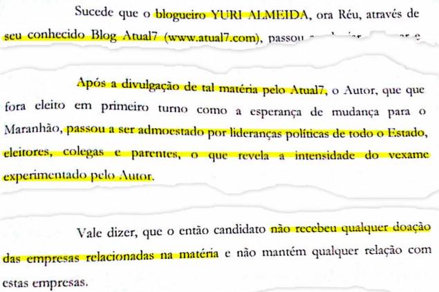 Trecho do processo em que Flávio Dino diz que o Atual7 está 'lhe tirando o sono' e jura de pés juros que não recebeu dinheiro da UTC e da OAS durante a campanha de 2014