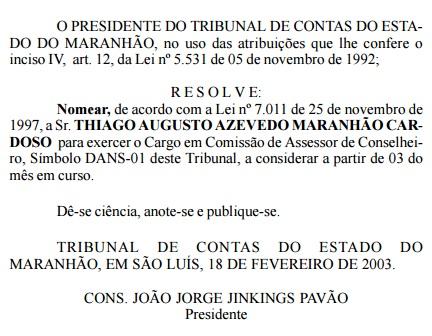 Cópia de documento oficial do TCE-MA mostra que Thiago Maranhão foi nomeado no tribunal desde 2003