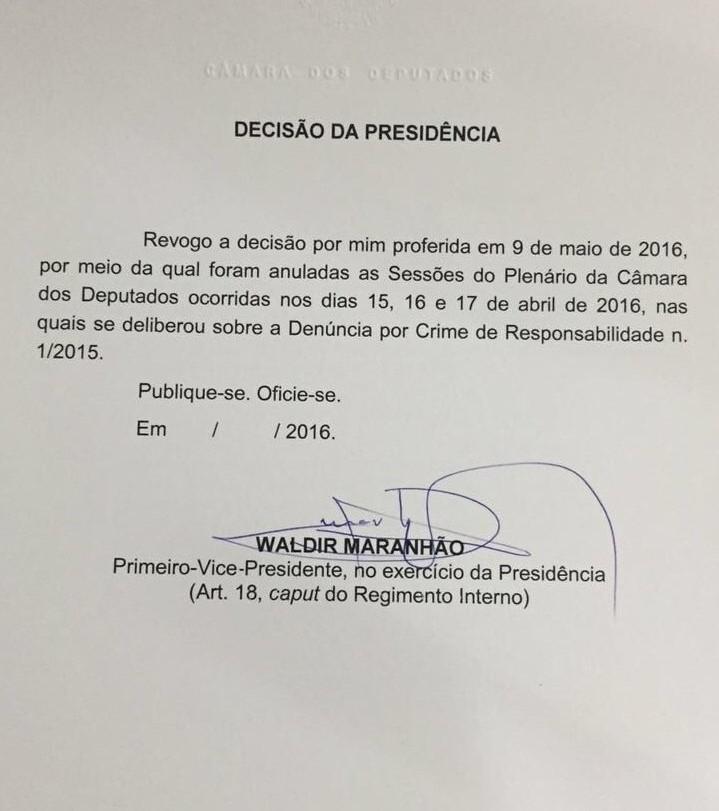 revogacao-waldir-maranhao-impeachment-dilma