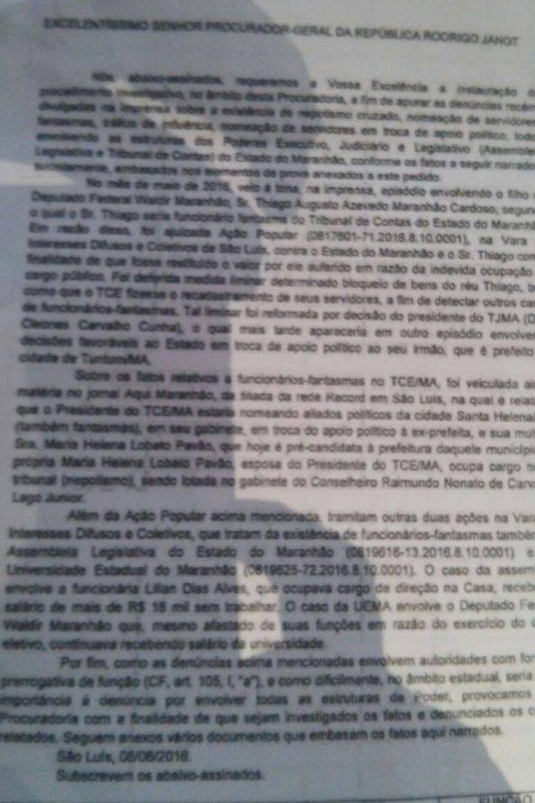 Entidades querem Janot investigando a existência de fantasma na AL-MA e TCE-MA e suposto tráfico de influência entre Flávio Dino, Cleones Cunha e Humberto Coutinho