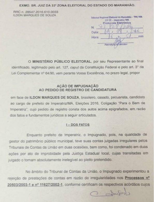 Trecho do pedido de impugnação de candidatura de Ildon Marques feito pelo MPE