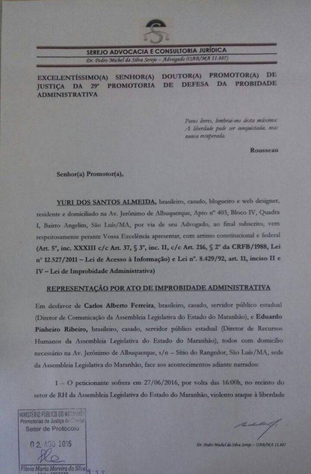 Trecho da Representação movida pelo editor do ATUAL7 contra os diretores da AL-MA que atentaram contra a moralidade administrativa