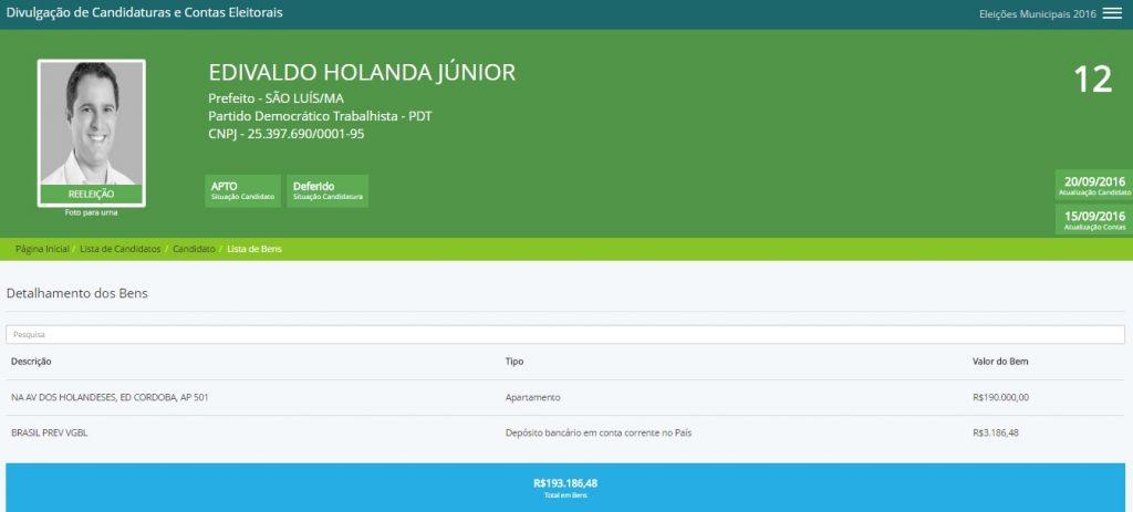 Prestação de contas entregue por Edivaldo Holanda Júnior à Justiça Eleitoral mostra apenas um apartamento e um depósito bancário numa conta do Banco do Brasil...