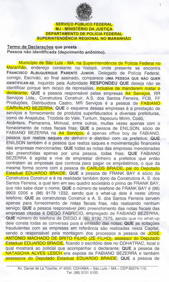 Documento exibido em reportagem do Fantástico em 2014 mostra que quadrilha era toda nomeada no gabinete de Eduardo Braide