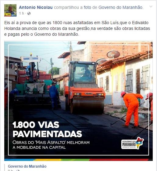 Governo do MA exclui postagem que desmente Edivaldo Júnior sobre obras