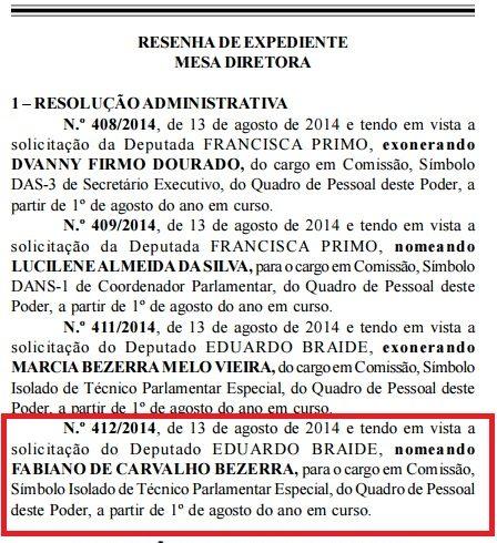 Trecho do Diário Eletrônico da AL-MA, que mostra que Fabiano Bezerra foi nomeado por Braide em seu próprio gabinete