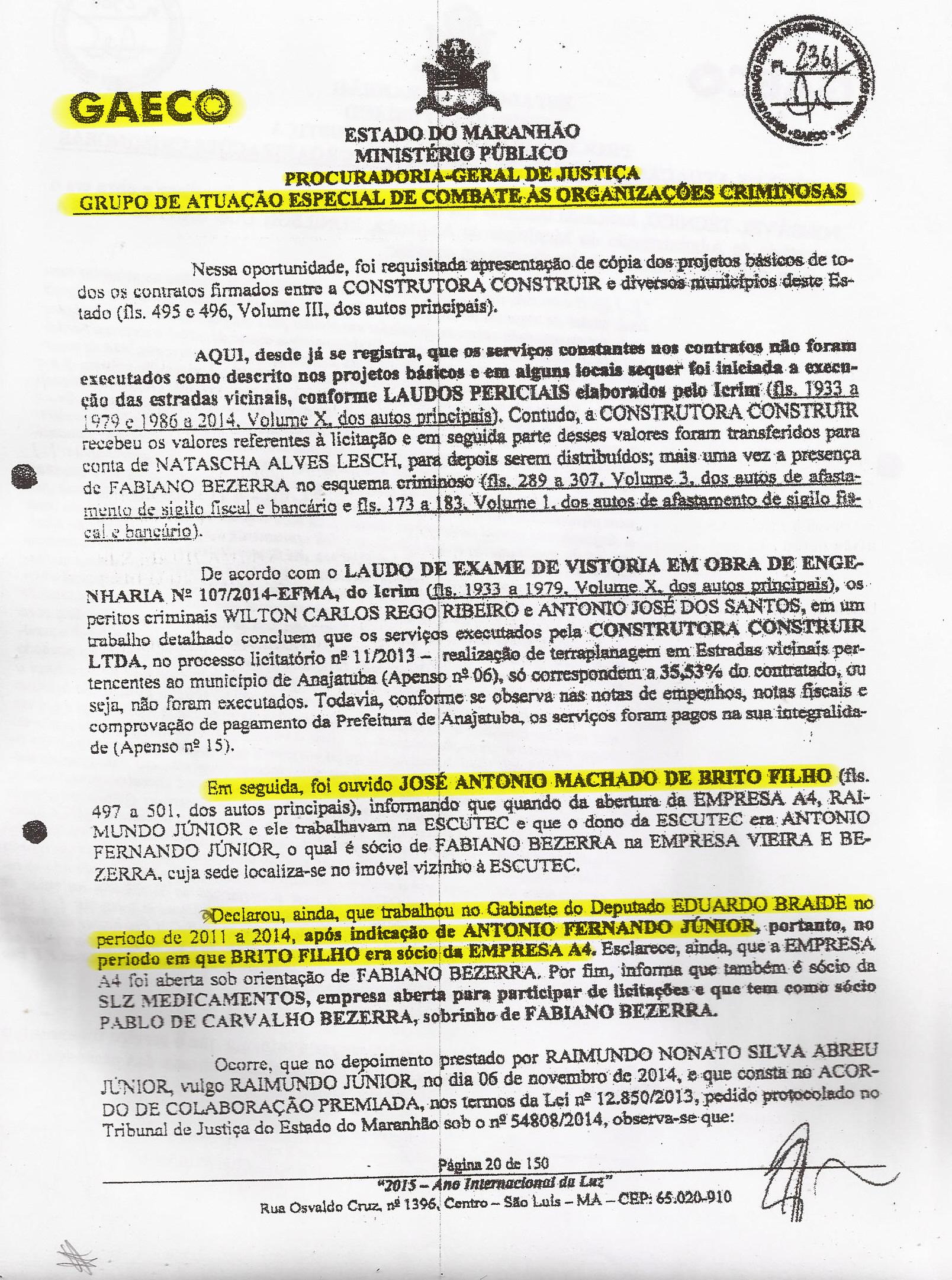 Folha de número 20 do PIC-Gaeco que mostra o emprego fantasma dado por Eduardo Braide ao sócio laranja da empresa de fachada A4