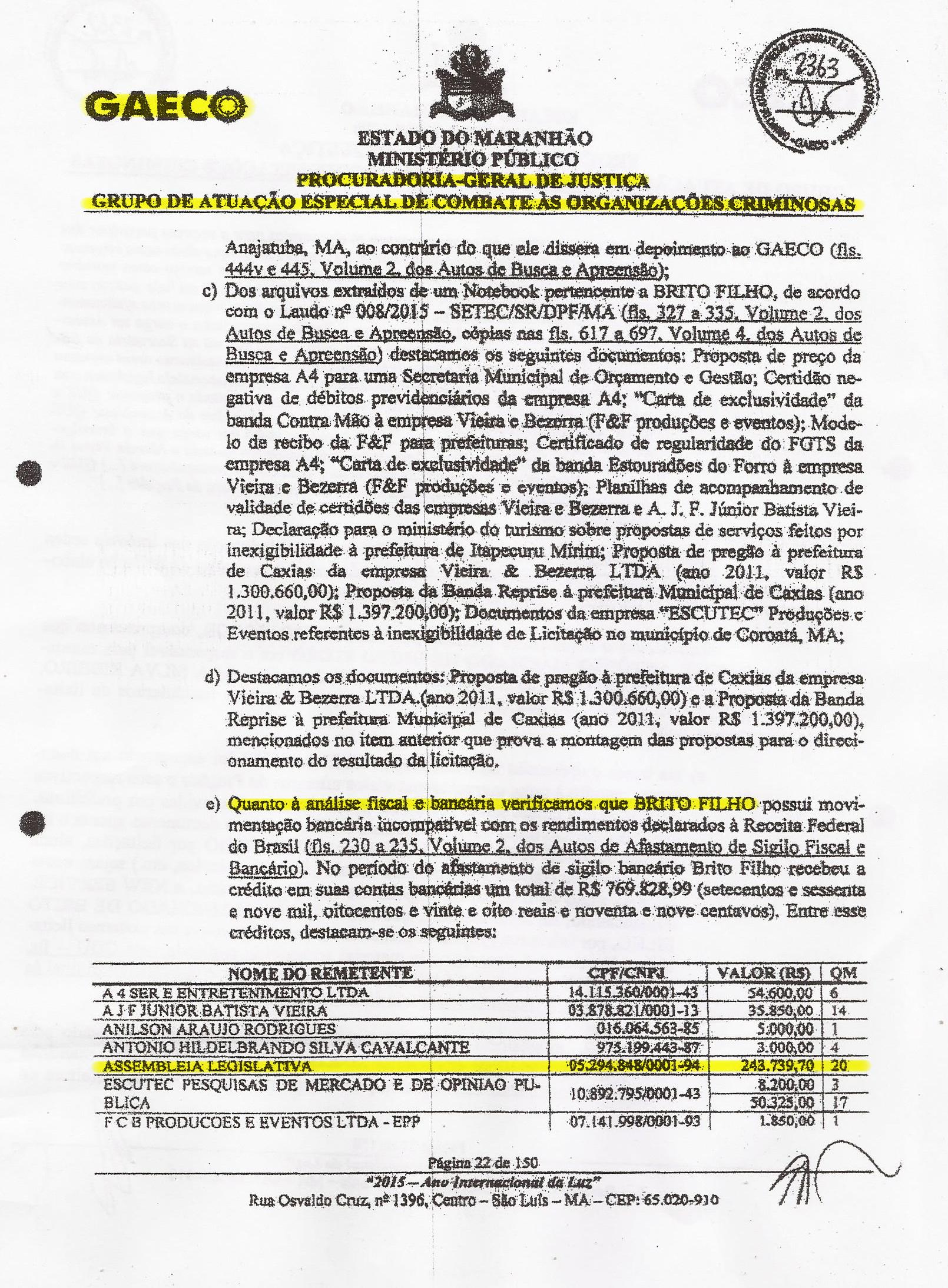 Trecho do PIC-Gaeco que mostra o valor embolsado pelo funcionário fantasma, entre os anos de 2011 e 2014, enquanto sinecurado no gabinete de Eduardo Braide