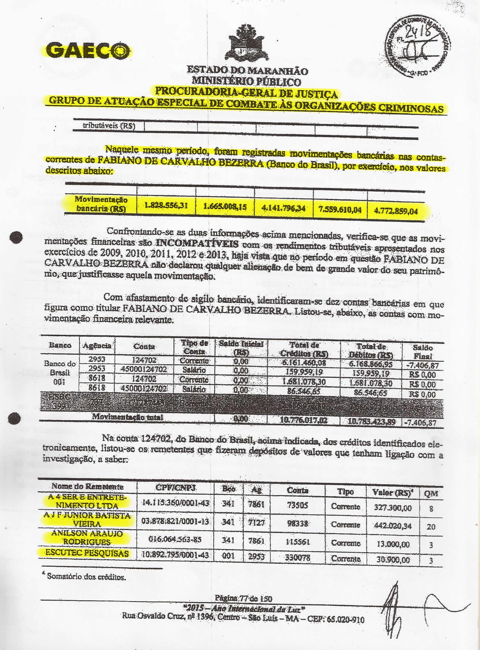 Folha 77 do PIC-Gaeco detalha quanto Fabiano Bezerra movimentou na conta do Banco do Brasil entre os anos de 2009 e 2013