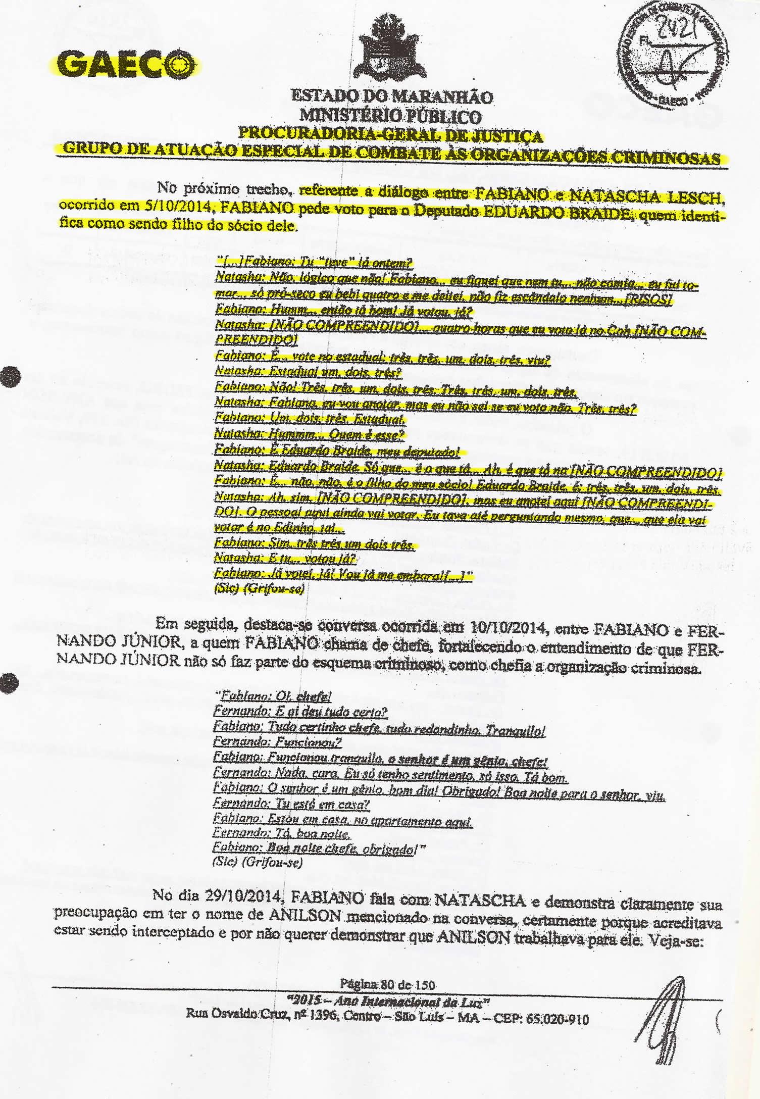 Folha 80 do PIC Gaeco mostra diálogo entre Fabiano e Natasha, onde é pedido à esposa que vote em Eduardo Braide para deputado estadual