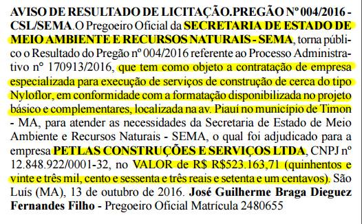 Trecho do aviso de resultado de licitação mostra que a Petlas vai levar mais de R$ 523 mil pela construção da cerca em Timon
