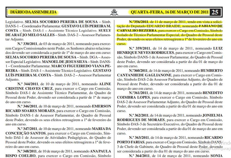 Trecho do Diário Eletrônico da Assembleia Legislativa do Maranhão mostra que Fabiano Bezerra entrou no gabinete de Eduardo Braide desde março de 2011