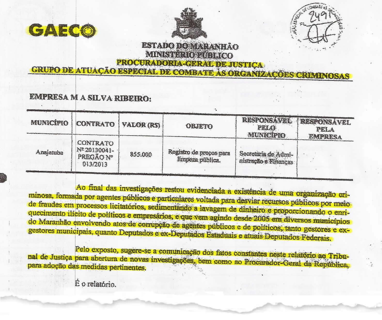 Folha 77 do PIC-Gaeco detalha quanto que novo pedindo de investigações seriam solicitados