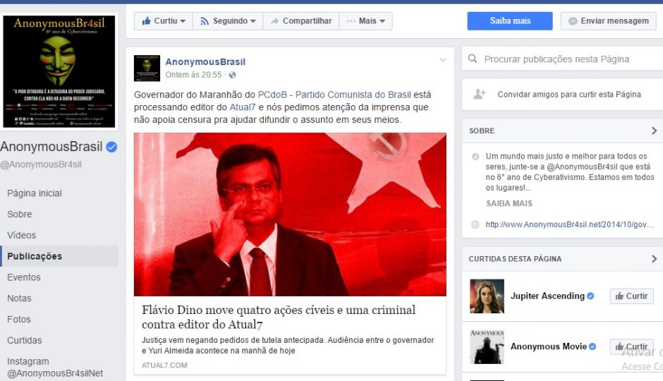 Anonymous Brasil repercute tentativa de censura de Flávio Dino ao ATUAL7