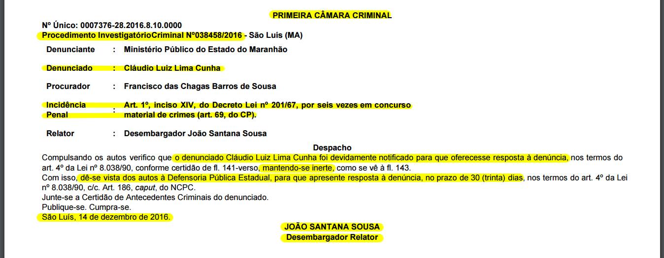 Defensoria Pública Estadual tem 30 dias para apresentar respostas sobre as denúncias que pesam contra o prefeito Cláudio Cunha
