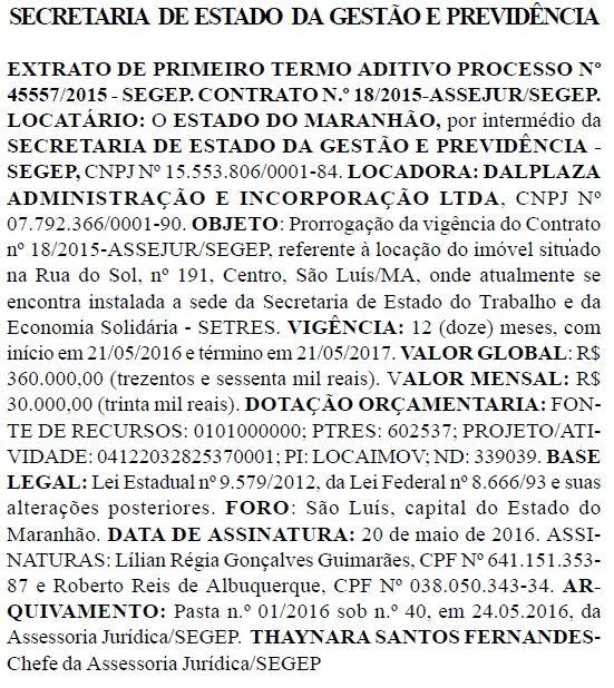 Extrato do aditivo ao contrato de aluguel entre a Segep e a empresa de parentes de Sandra Albuquerque Dino, pelo prédio da Secretaria do Trabalho e da Economia Solidária do Maranhão
