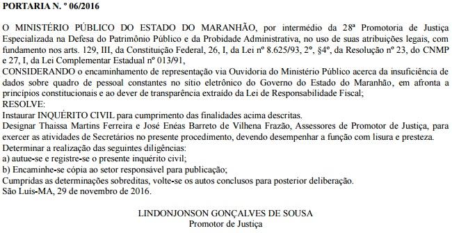 Portaria mostra que MP quer saber motivo do governo Flávio Dino não divulgar no Portal da Transparência os nomes e os respectivos salários dos servidores públicos lotados no Executivo
