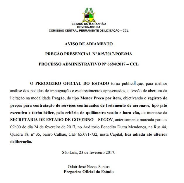 avso-adiamento-licitacao-avioes-flavio-dino