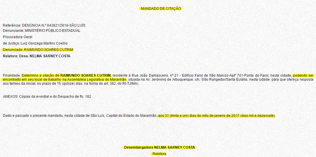 Documento mostra que Raimundo Cutrim tem o prazo de 15 dias para apresentar defesa sobre processo criminal movido contra ele pelo chefe da PGJ