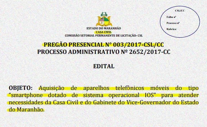 edital-compra-iphones-casa-civil-marcelo-tavares-carlos-brandao