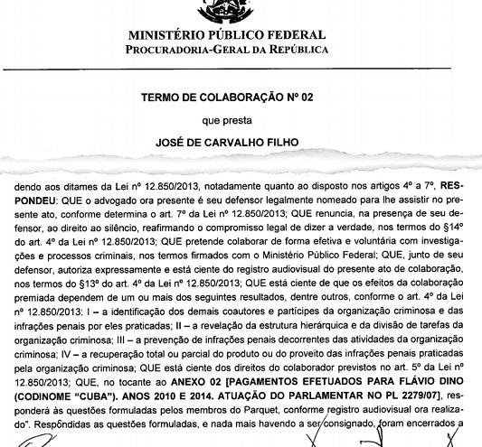 TC de João de Carvalho Filho: Flávio Dino é o Cuba. Planilha e outros documentos fora colhidas pela PRG para abertura de investigação contra o governador