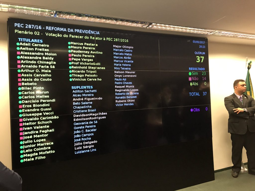 Painel com o resultado da votação do texto-base da Reforma da Previdência. Foto: George Marques